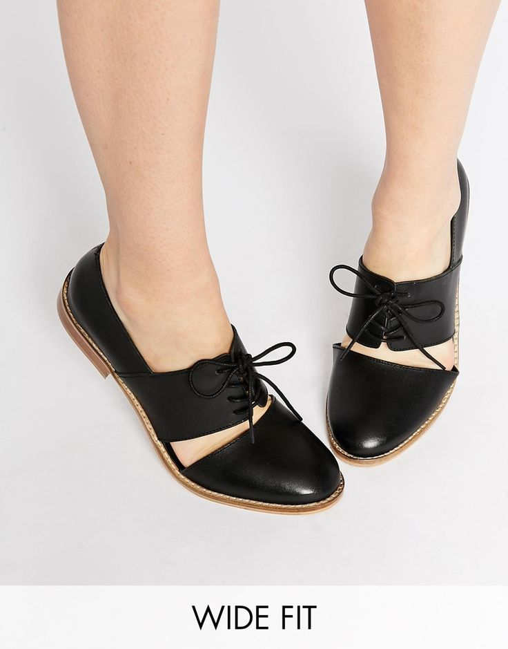 Image 1 ofASOS MARCIE Leather Wide Fit Flat Shoes