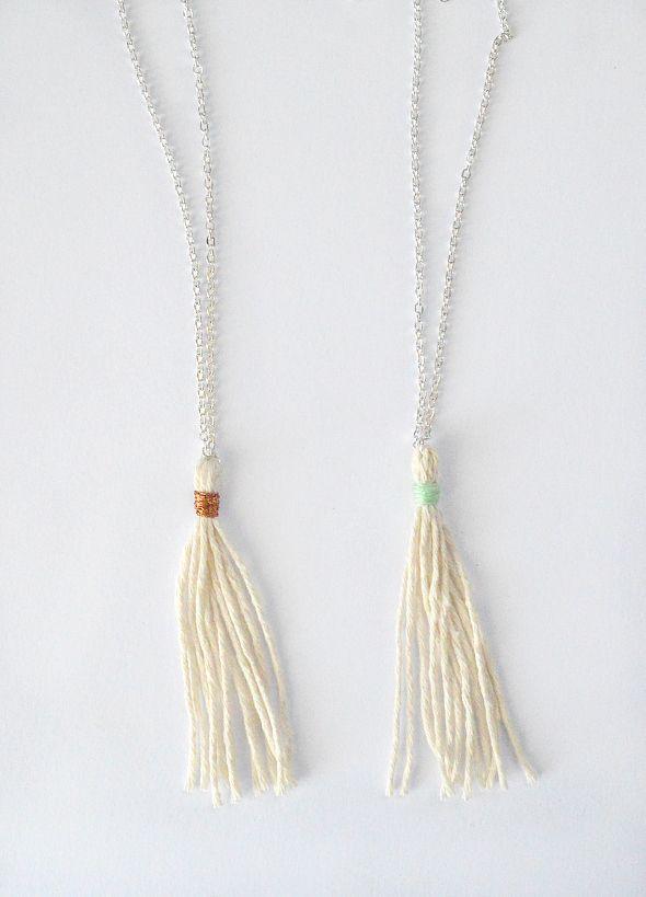 Natural cotton tassel necklace #littlebubalishka