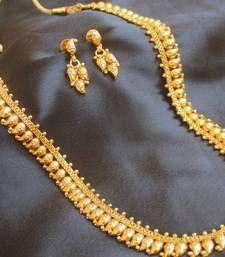 Buy BEAUTIFUL LONG ANTIQUE GOLD PLATED MANGO HAAR SET necklace-set online