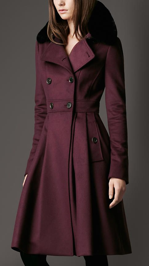 I NEED it, Fur Collar Full Skirt Coat | Burberry