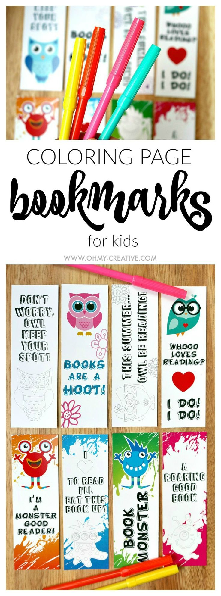 Use these adorable FREE PRINTABLE BOOKMARK COLORING PAGES to get the kids interested in reading and keep their place while they are reading a book from day to day. There are two set of coloring page bookmarks available: cute little monsters and fun adorable owls. Download and print one or both sets!