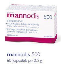 Mannodis 500,jest preparatem zawierającym glukomannan w kapsułkach po 500 mg. Glukomannan jest rozpuszczalnym w wodzie błonnikiem pokarmowym. Pochodzi z japońskiej rośliny Amorphophallus konjac.