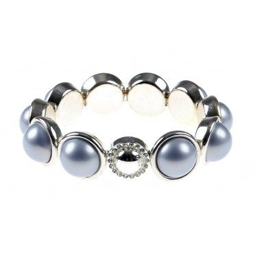 Bratara placata cu argint si perle albastre Ilse