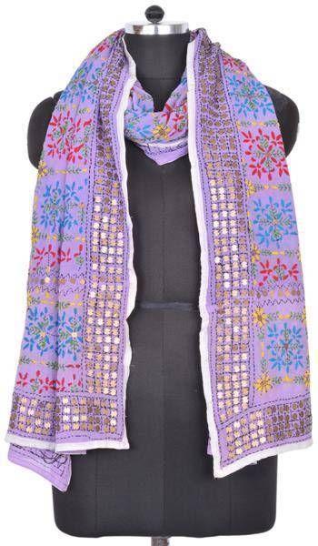 Vintage Phulkari Embroidered Dupatta Long Scarf Veil Stole India ID13330 #Handmade #ShawlWrap