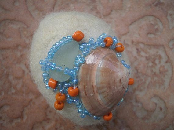 Sea glass beaded felted stone ecru felted stone by thalasseaglass, $12.00