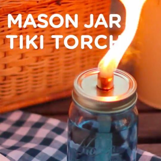 Whether you are camping in the woods or enjoying your backyard on a summer evening, citronella tiki torches are perfect for lighting and keeping the bugs away. The mason jars give the torches a charming vintage feel, so they are as stylish as they are useful. You can make them either to sit on a table, or hang from a hook. Either way, they make the great outdoors even greater.