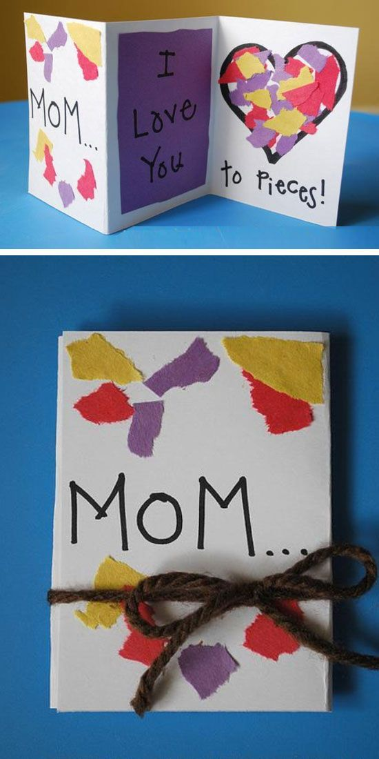 Mother's Day Pieces Card | Easy Mothers Day Cards for Kids to Make...