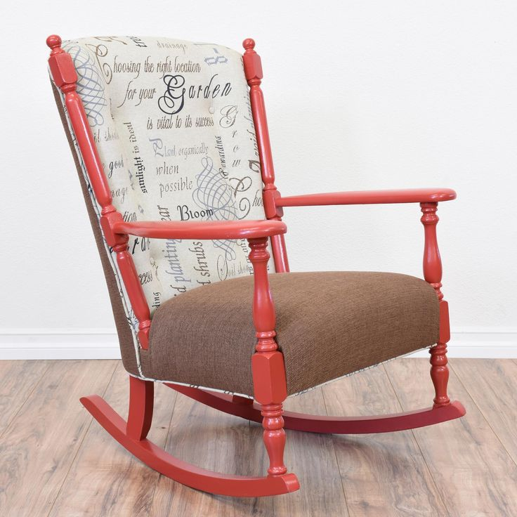 This eclectic rocking chair is featured in a solid wood painted in a glossy vibrant red finish. This rocker is in great condition with carved spindle details, a brown upholstered seat cushion and tufted back with inspirational word fabric! #eclectic #chairs #rockingchair #sandiegovintage #vintagefurniture