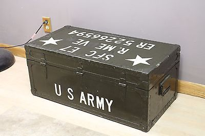 1949 Us Military Army Foot Locker Trunk Chest Box With Tray Green ...