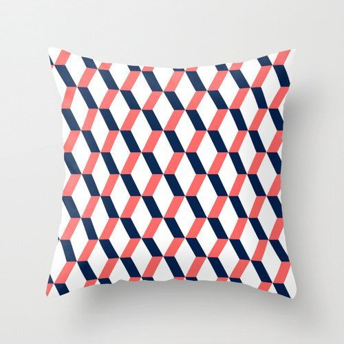 Geometric Pattern Throw Pillow Navy Coral Black Mint Turquoise Red Blue Home Decor Orange Brown Living Room Throw Pillow