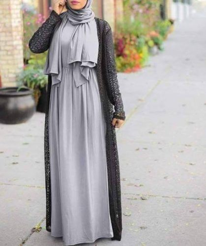 long black lace cardigan with maxi dress- Neutral hijab outfit ideas http://www.justtrendygirls.com/neutral-hijab-outfit-ideas/