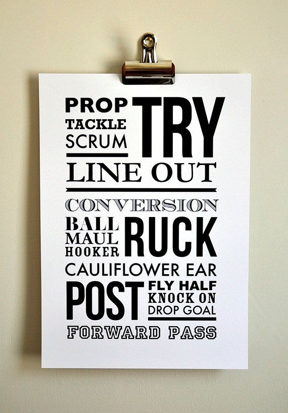 Rugby, Rugger - A4 - Typographic, sports print, can be personalised for gifts or to the sport you love.. £14.50, via Etsy.