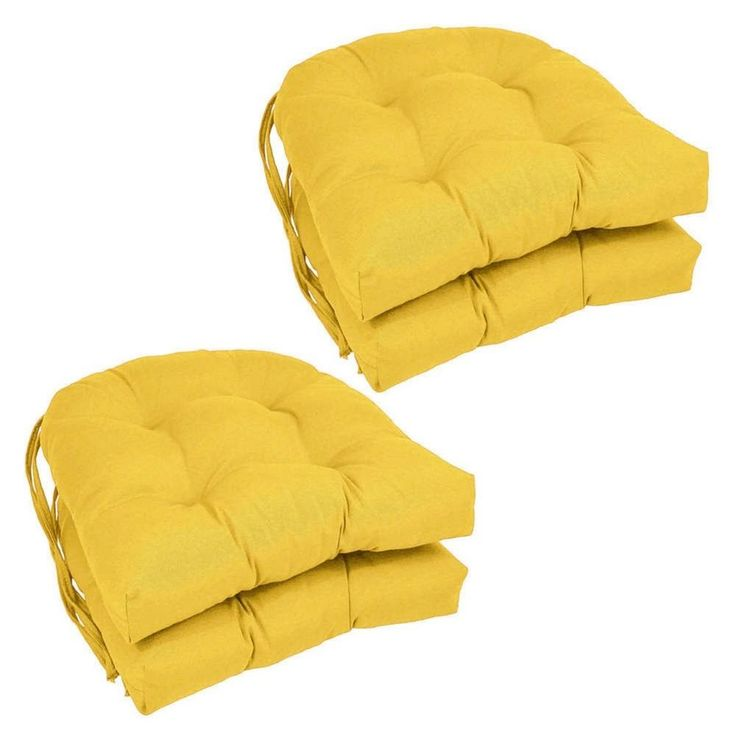 Dining Chair Cushions With Ties Seat Pad Kitchen Room Yellow Set Of 4