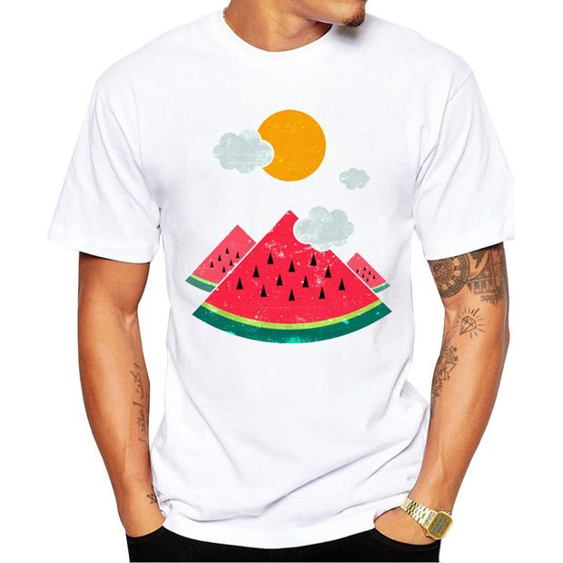 Watermelon Adventure Men's Short Sleeve Casual White T-Shirt