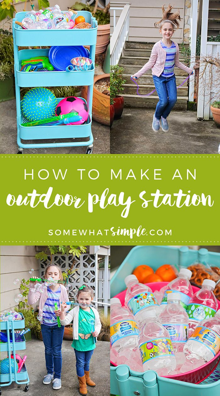 This simple and fun outdoor play station has everything you need to keep the kids entertained and hydrated all summer long! #NestleShareaSmile #ad @nestlepurelifeusa