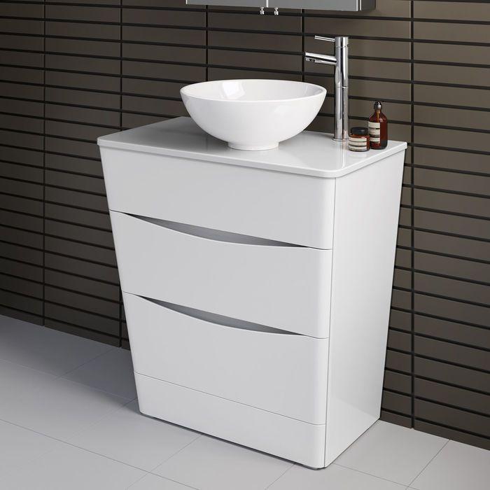 800mm Austin Ii Gloss White Countertop Unit Puro Basin Floor