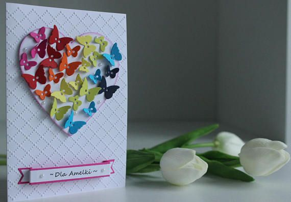Handmade card birthday card with heart card with butterfly