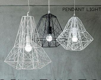 Geometric Pendant Light Cage Minimalist Industrial Warehouse Loft