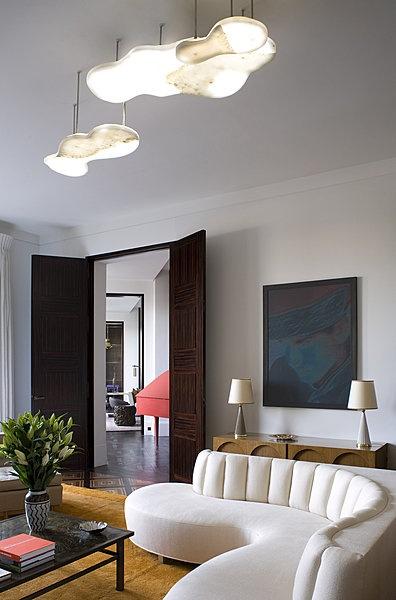 great pairing of sofa & light fixture