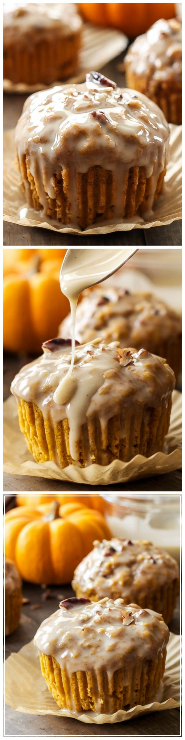 Pumpkin Pecan Muffins with Bourbon Maple Glaze - Pumpkin spiced muffins filled with toasted pecans and dipped in a sweet and boozy bourbon maple glaze! A must make this fall and holiday season!