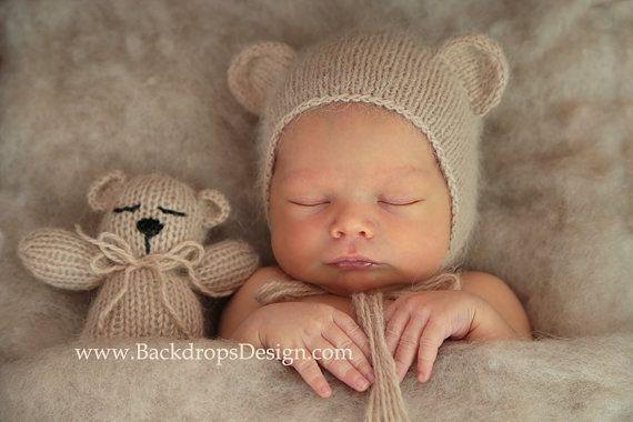 Nouveau-né Angora ours Bonnet et ours en peluche jouet