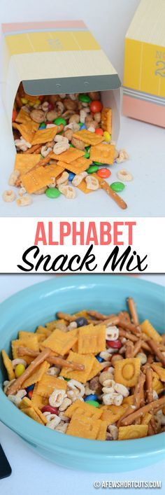 Who says you can't play & learn with your food. Check out this yummy Alphabet Snack Mix Recipe that the kids are sure to love! Great Back to School lunchbox snack.