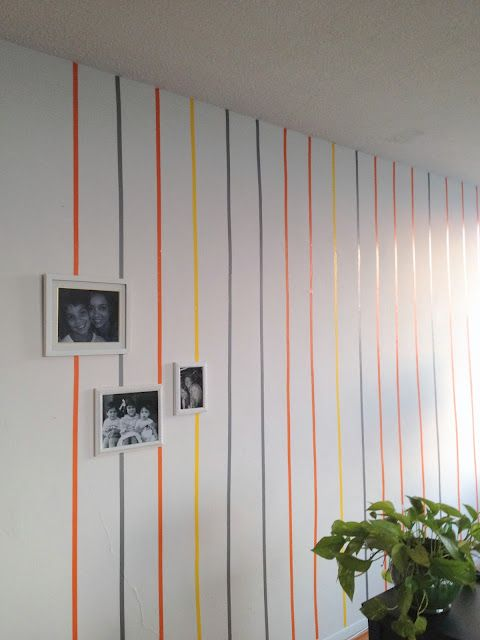 electrical tape stripes-- great for renters who can't paint or put holes in the wall!