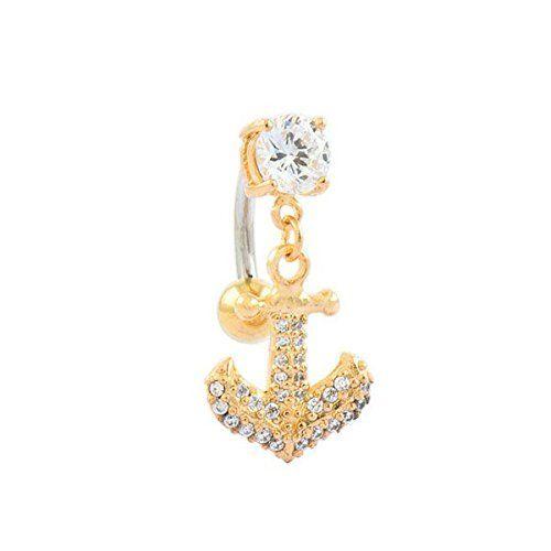 SL-Silver Bauchnabelpiercing goldener Anker mit Zirkoniakristallen