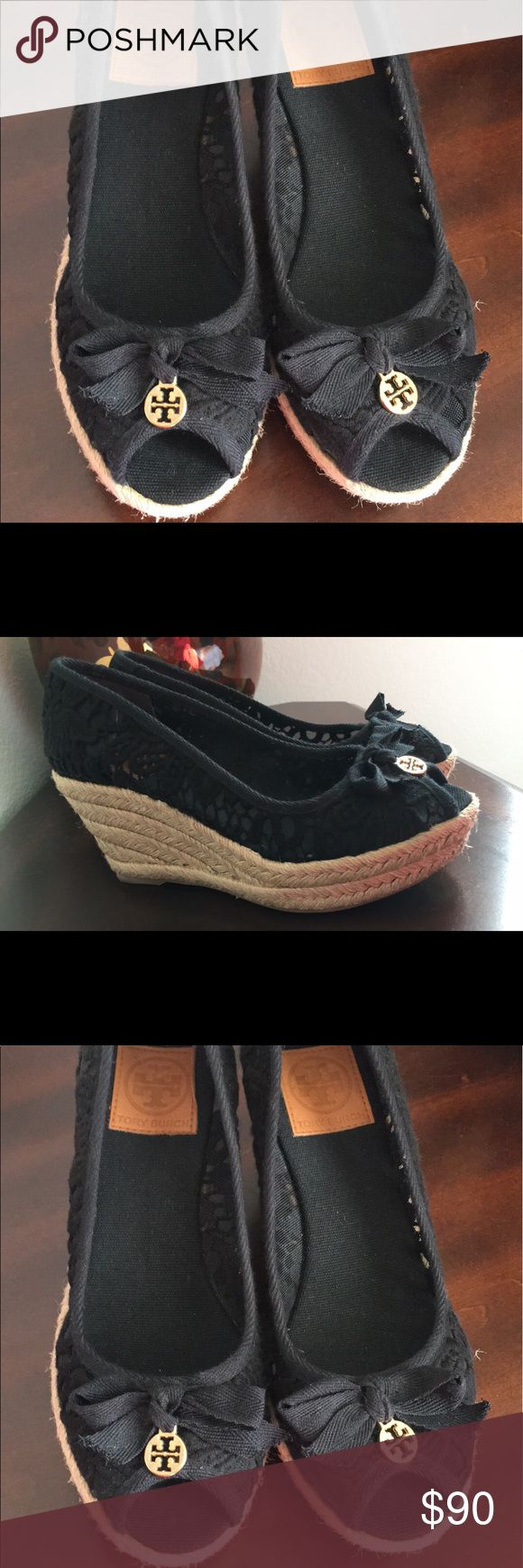 Tory burch black wedges Like new! Used once for a few hours. Bought at 115+tax at Nordstrom's rack. Tory Burch Shoes Wedges