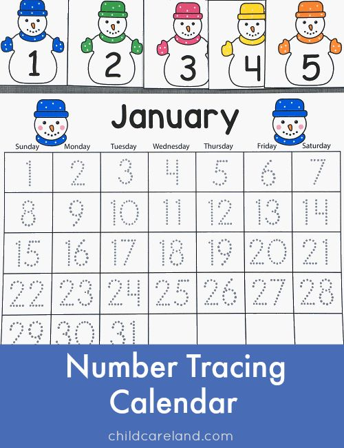 January number tracing calendar and calendar numbers as well as other January items.