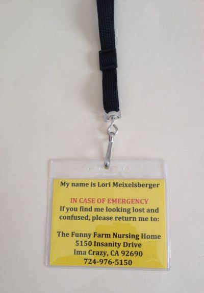 In case of emergency ID tag for 50th birthday fun.  See more 50th birthday gag gifts and party ideas at www.one-stop-party-ideas.com