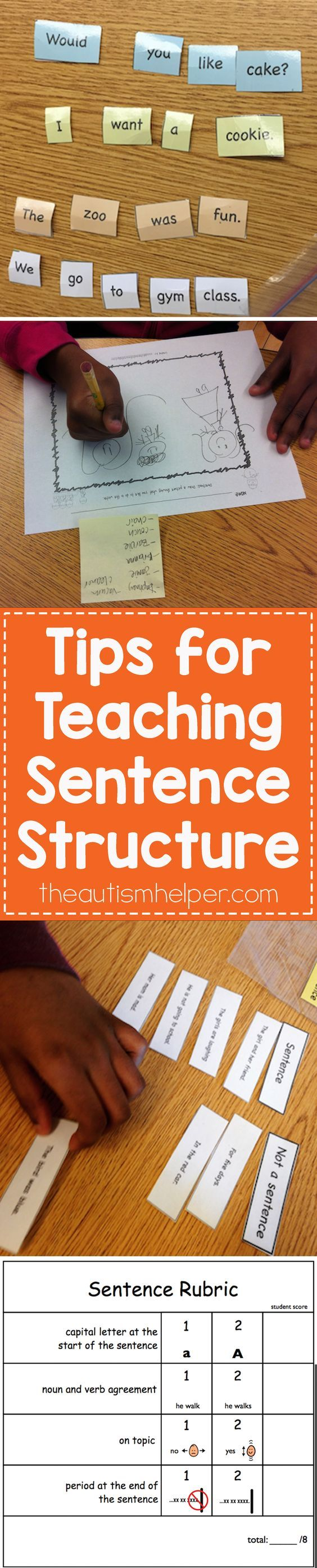 When we're targeting sentence structure, the skill level of our students can be pretty varied. Today I'm sharing activities & strategies for targeting the writing a complete sentence!! From theautismhelper.com #theautismhelper