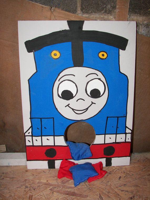 Thomas the Train Corn hole game via windsor48 on Etsy