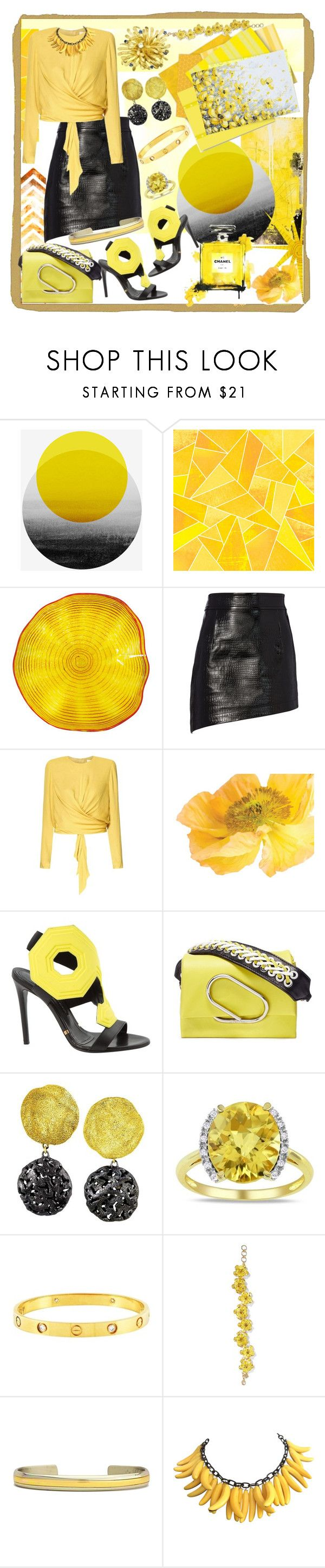 """Pop of Yellow"" by jeneric2015 ❤ liked on Polyvore featuring Viz Glass, Helmut Lang, Paisie, Gianmarco Lorenzi, 3.1 Phillip Lim, Alex Soldier, Miadora, Cartier, Sergio Lub and PopsOfYellow"