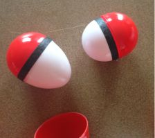 Great inexpensive fillable Pokeballs you make yourself!  No painting required!  Fill with candy or Pokemon characters and set up a fun scavenger hunt!