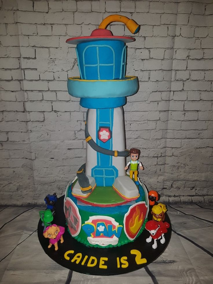 Paw Patrol Lookout cake topper with badges and logo