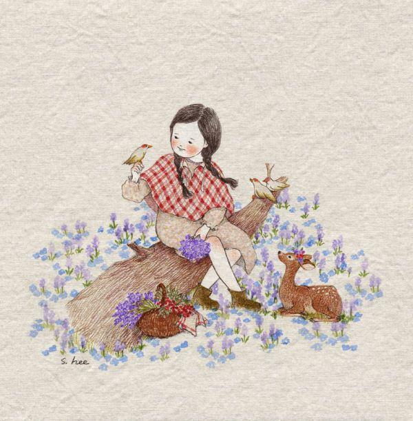 숲 속에는.... 너무나 고운 꽃들이 피어 있어 나는 항상 집으로 돌아갈 시간을 깜빡 잊곤 했습니다...