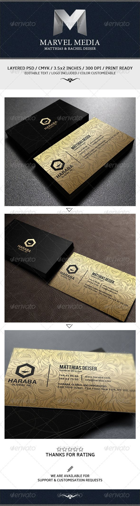Golden Business Card  #GraphicRiver        Business Card Creative and clean business card template with modern style.