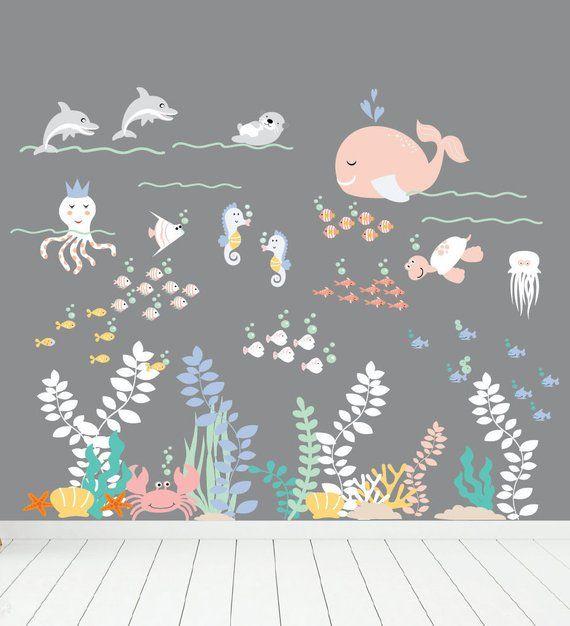Dekoration Wandsticker Kinderzimmer Meerjungfrau Seepferdchen Unterwasser Wandtattoo Kinder Mobel Wohnen Elin Pens Ac Id