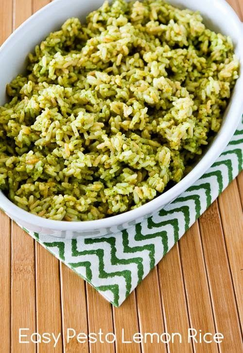 I made this Lemon Pesto Rice for a dinner party, and there were no leftovers!
