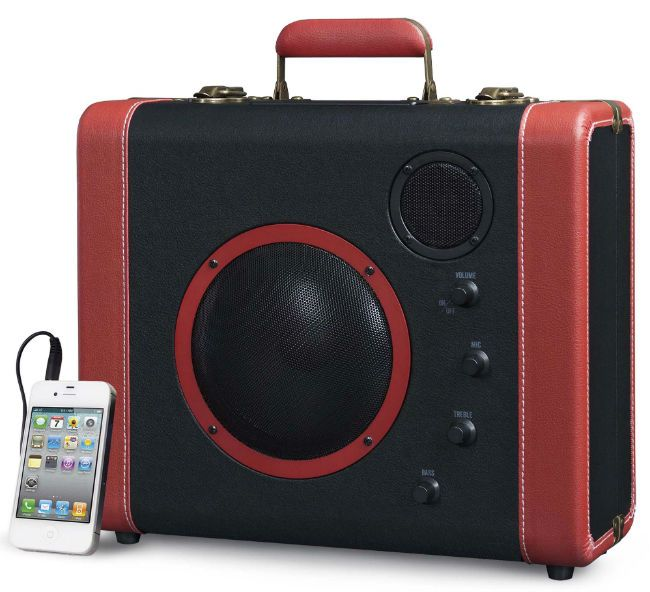 Vintage Style. Evoking the days rail travel and steamships this suitcase is packed with modern technology. The latest Bluetooth technology allows you to wirelessly play your music from your smart-phone, laptop or other Bluetooth enabled device.