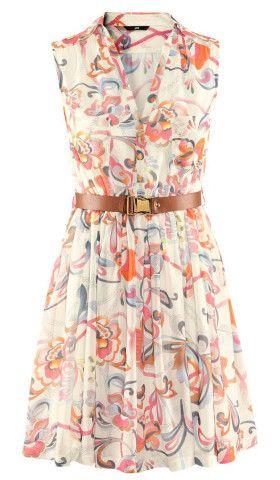 Beige Sleeveless Floral Belt Chiffon Dress