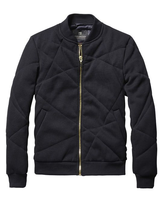 Wear this classic quilted bomber jacket over a v-neck t-shirt and a pair of chino pants for a casual look.