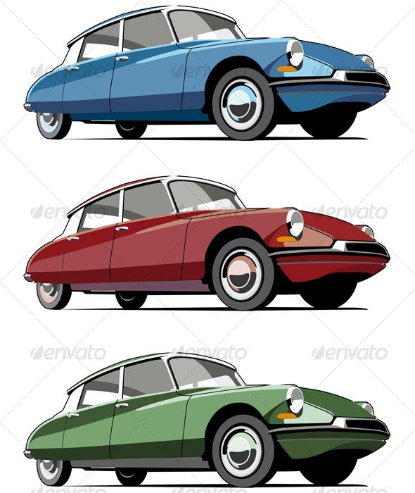Vectorial icon set of old-fashioned French cars isolated on white backgrounds. Every car is in separate layers. No gradients and b
