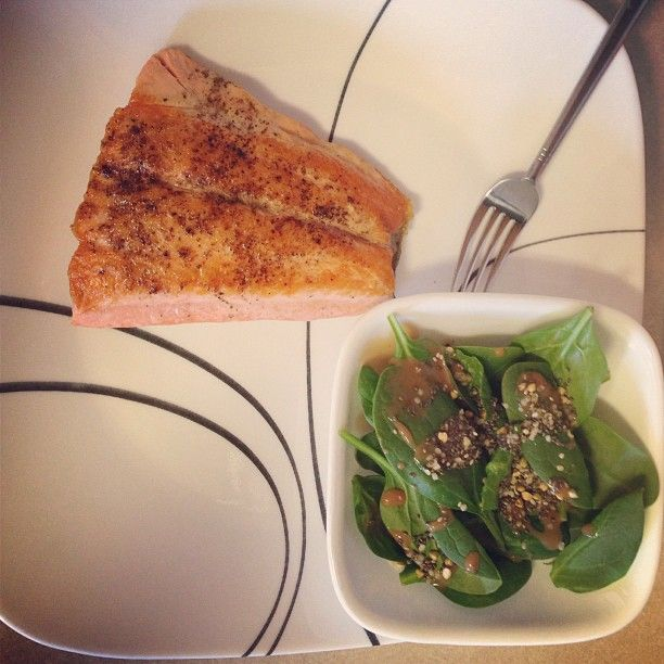 ... salad with vinaigrette dressing, Chia seeds and hemp seeds #healthnut