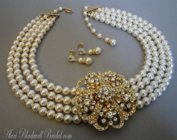 Pearl Wedding Necklace With Gold Brooch Or Silver Broach In 4 Multi Strands Swarovski Pearls Mother Of The Bride Bridal Jewelry Sets