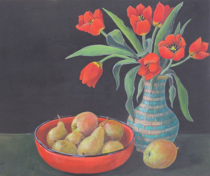 Red Tulips with Red Bowl - acrylic on card