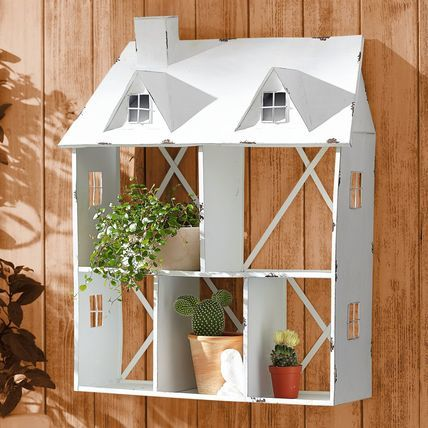 Living Blumenregal Haus, Weiß, Metall