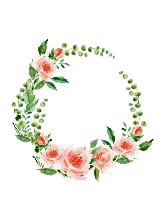 Floral Watercolor Wreath Clipart Floral Wreath Png Logo Wreath