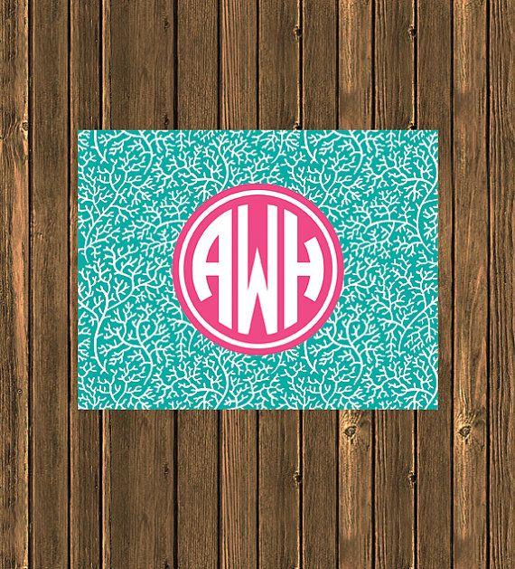 SALE  Personalized Preppy Monogram Notecard  Teal by jpurifoy